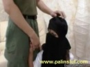 Very experienced Saudi hijab mom is teaching her best friends son to satisfy his girlfriend, in a threesome